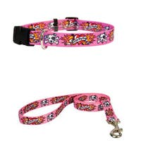 Yellow Dog Design I Luv My Dog Pink Pet Standard Collar and Lead Set
