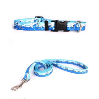 Yellow Dog Design Mystic Waves Blue Pet Standard Collar & Lead Set