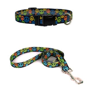Yellow Dog Design Peace Signs Pet Standard Collar & Lead Set (More options available)