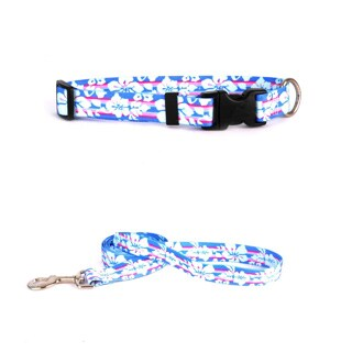 Yellow Dog Design Tropical Flowers Pet Standard Collar and Lead Set (More options available)