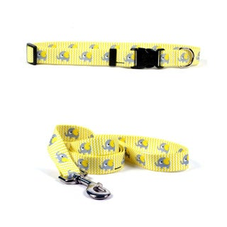 Yellow Dog Yellow Elephant Pet Standard Collar & Lead Set