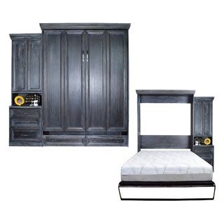 Queen Venice Matrix Murphy Bed with One Pier Cabinet in Black Wash Finish