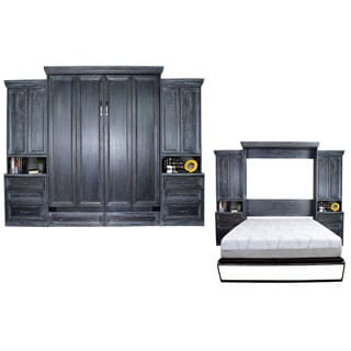Venice Matrix Black Queen-Size Murphy Bed with 2 Cabinets