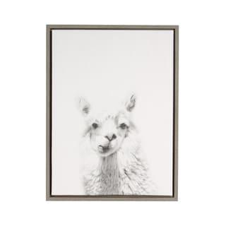 Simon Te 'Alpaca Portrait' Black and White Framed Canvas Wall Art