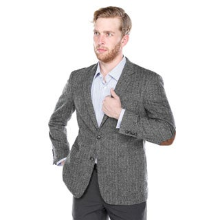 Verno Men's Black and Grey Wide Herringbone Wool Blazer