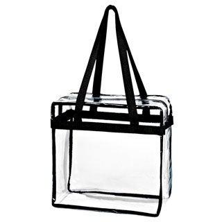 Women's Crystal Clear Transparent Tote Bag with Zippered Top Closure and Black Shoulder Strap