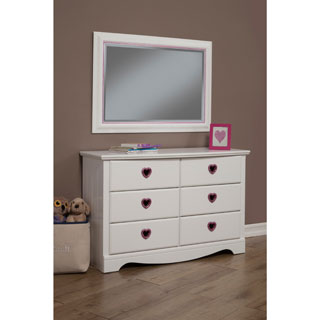 Sandberg Furniture Sparkling Hearts 6-Drawer Dresser and Mirror