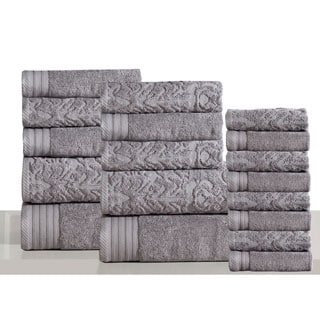 Panache Home Jacquard/Paisley Collection 100-percent Luxurious Cotton 600 GSM 18-piece Towel Set