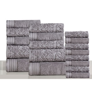 Panache Home Jacquard Collection 100-percent Luxurious Cotton 18-piece Towel Set (Option: Grey)