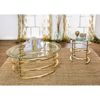 Furniture of America Odella Contemporary 2-piece Glam Glass Top Accent Table Set