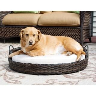 Rattan Round Pet Bed with Handles - Indoor/Outdoor - N/A