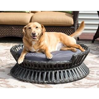Rattan Raised Round Pet Bed - Indoor/Outdoor - N/A
