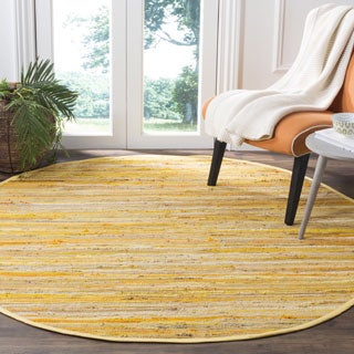 Safavieh Hand-Woven Rag Cotton Rug Yellow/ Multicolored Cotton Rug (6' Round)