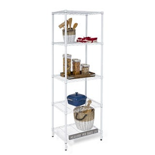 Honey-Can-Do SHF-01055 5-tier Adjustable White Shelving Unit