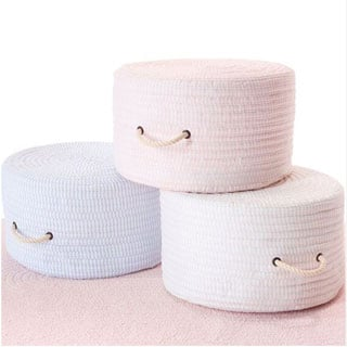 Ticking Stripe Solid Cotton-blend Round Pouf/Ottoman with Handles