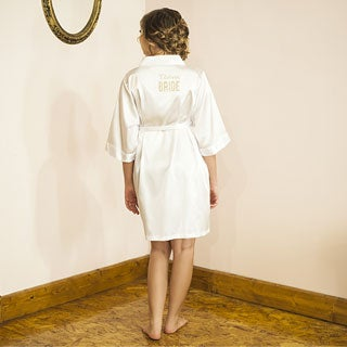 Team Bride White Satin Robe