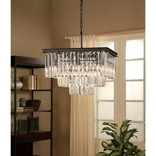 Abbyson Living Stella Black Iron Crystal 3-tier Chandelier