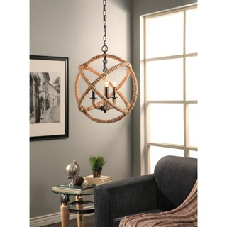 Abbyson Tuscan Iron 3-light Rope Enclosed Chandelier