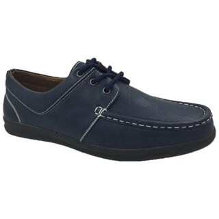 Andrew Fezza Men's Navy Faux Leather Boat Shoes