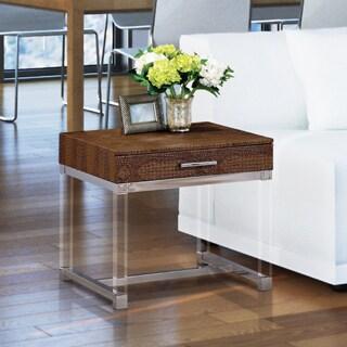 Furniture of America Repta Contemporary Crocodile Textured Storage End Table