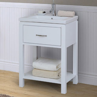 24 inch Extra thick Ceramic Sink-top Single Sink Bathroom Vanity with open shelf in White Finish