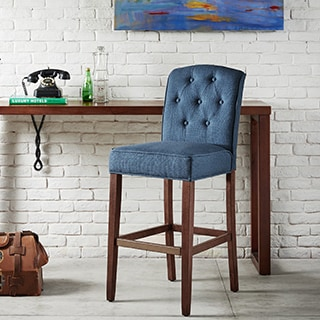 Madison Park Misha Navy Tufted 30-Inch Bar Stool