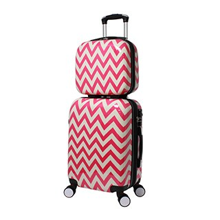 World Traveler Chevron 2-piece Lightweight Hardside Carry-on Spinner Luggage Set