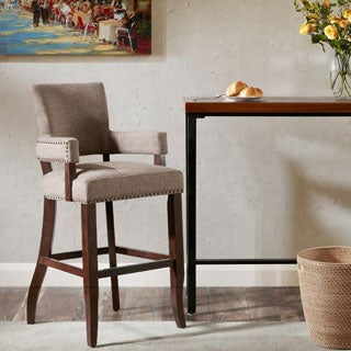 Madison Park Parler Brown Arm 30-inch Bar Stool