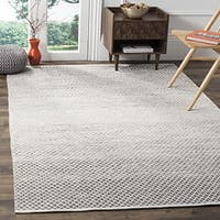 Safavieh Montauk Handmade Flatweave Light Grey/ Ivory Cotton Rug (8' x 10')