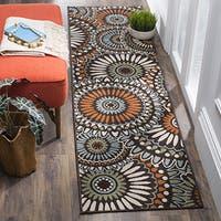 Safavieh Veranda Indoor/ Outdoor Contemporary Chocolate/ Terracotta Runner Rug - 2' 3 x 8'