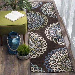 Safavieh Veranda Indoor/ Outdoor Contemporary Chocolate/ Blue Runner (2' 3 x 8')