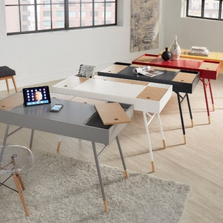 Aalto Two-Tone Compartment Desk with Power Strip by MID-CENTURY LIVING