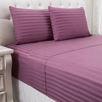 4-Piece Queen Size Cotton Sateen Stripe Comforter Set