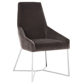 Safavieh Couture High Line Collection Evrex Smoke Velvet Side Chair