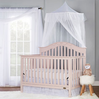 Dream On Me Charlotte Blush Pink 5-in-1 Convertible Crib