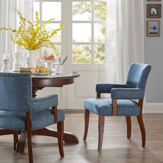 Madison Park Parler Blue Arm Dining Chair