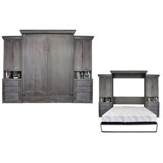 Empire Charcoal Wash Queen-size Murphy Bed with 2 Pier Cabinets