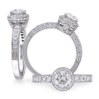 Laura Ashley 1 2/5 CT Diamond TW Halo Engagement Ring in 14k White Gold