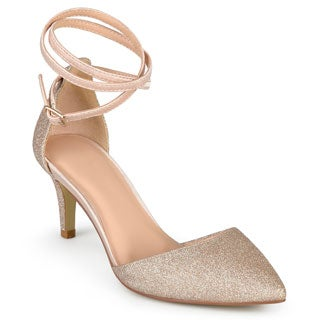 Journee Collection Women's 'Luela' Glitter Pointed Toe D'orsay Pumps (Option: Gold)