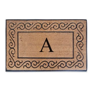 A1HC First Impression Rubber and Coir Molded Monogrammed Double Doormat
