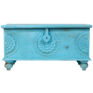 "Handmade Leela Distressed Blue Medallion Coffee Table Trunk - 18"" x 18"" x 35"" (India)"