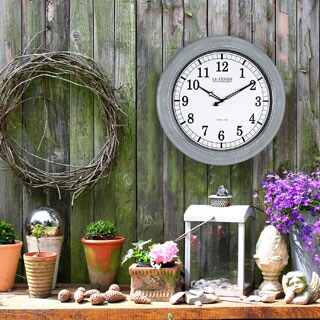 La Crosse Technology Chrome Galvanized Metal 18-inch Indoor/Outdoor Atomic Analog Wall Clock