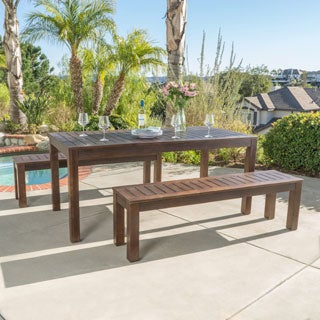 Manila Outdoor 3-piece Acacia Wood Rectangle Picnic Dining Set by Christopher Knight Home