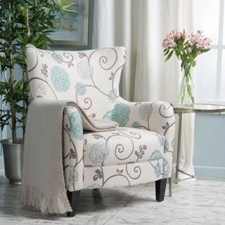 Arabella High Back Floral Fabric Club Chair By Christopher Knight Home  (Option: White