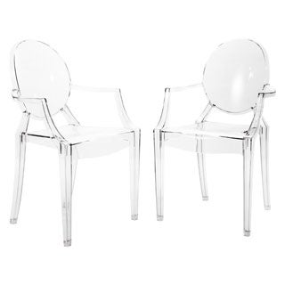 Corvus Irene Clear Stackable Dining Side Chair with Armrests (Set of 2)