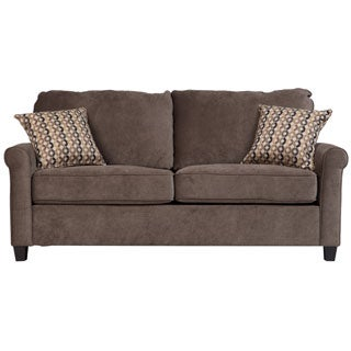 Beautiful Porter Serena Warm Grey Full Sleeper Sofa With Woven Accent Pillows