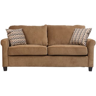 Porter Lily Tan Full Sleeper Sofa with Woven Accent Pillows