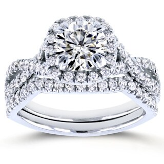 Annello 14k White Gold 1ct Forever Brilliant Moissanite and 3/4ct TDW Diamond Criss Cross Bridal Set (GH, I1-I2)
