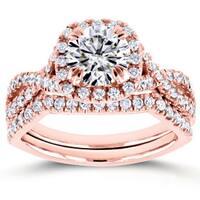 Annello by Kobelli 14k Rose Gold 1ct Moissanite (FG) and 3/4ct TDW Diamond (GH) Criss Cross Bridal Set