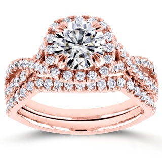 Annello by Kobelli 14k Rose Gold 1ct Moissanite (FG) and 3/4ct TDW Diamond (GH) Criss Cross Bridal Set (More options available)